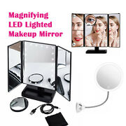 10x Magnifying Led Lighted Suction Cup Makeup Mirror Gooseneck Glass Ceramic Usb