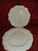 4 Certified International Solid White Flowers Floral Leafs 9 Salad Plates..rare