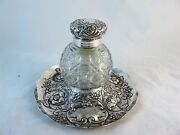 Large Sterling Silver Inkwell With Hobnail Glass Hmss London 1891