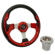 Yamaha G2 To G29 Golf Cart Red Rally 12.5 Steering Wheel With Chrome Adapter