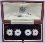 A Magnificent Pair Of Edwardian Enamel And Ruby Gem-set Cufflinks Circa 1900andrsquos