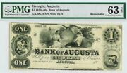 1860s Augusta Georgia 1 Dollar Obsolete Bank Note Pmg Choice Uncirculated 63