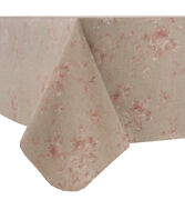Petite Flower Pink Acrylic Coated Table Cloth Val Red Beige Leaves Wipe Able