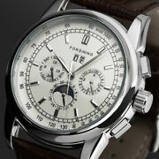 Mens Watch Mechanical Brown Faux Leather Band Three Eyes Analog Display Luxury