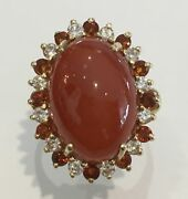 14k Yellow Gold Red Jade Diamond Ring Citrine Quartz H Color Si Clarity Size 9.5