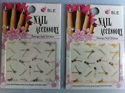 40 Stickers Fastening Zip Golden Silver Nails Nail Art Manicure