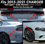 For 15-2021 Charger Tail Light Side Marker Decal Smoke Overlay Precut Tint Vinyl