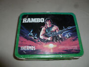 Vintage Rambo Metal Lunch Box Only 1985 Sylvester Stallone Pail No Thermos Camo