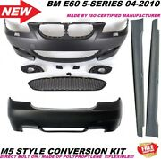Bmw E60 M5 Style Front Rear Bumper With Side Skirts Fits 2004-2010 No Sensor