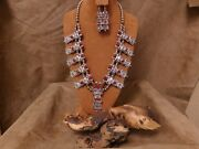 Navajo Sterling Silver And Coral Kachina Squash Necklace And Earring Set