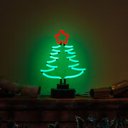 Light Table Green Christmas Tree Spruce With Star Decoration Neon Sign Not Led