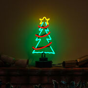 Handmade Christmas Tree And Garland And Star Light Decoration Table Mantle Neon Sign