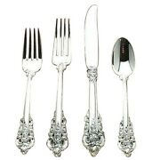 Grande Baroque By Wallace Sterling Silver 4 Piece Dinner Size Setting, Brand New