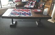 Reclaimed Wood Coffee Table Cast Iron Legs Industrial Cool Unique