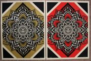 Lotus Diamond Prints Set Gold And Red By Shepard Fairey Signed And Numbered