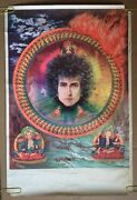 Vintage Bob Dylan Blacklight Earth Water Fire Air Poster Psychedelic Pin-up 60's