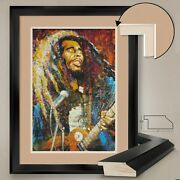32wx44h True Bob Marley By Stephen Fishwick - Double Matte Glass And Frame