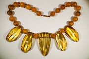 Vintage Art Deco Chunky Plastic Necklace Apple Juice And Amber Colors.