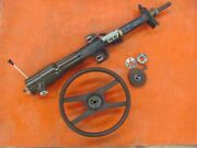 Original 1976 76 Only Corvette Steering Column W/ Wheel And Keys Brown Saddle