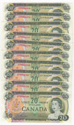 Lot Of 10 Consecutive 1969 Bank Of Canada 20 Notes - Nice Uncand039s - Ep Prefix