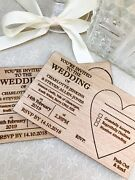 Personalised Wedding Invitations. Wooden Post-card Style Vintage, Rustic.