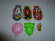 Vintage Squeeze Clicker Toy Lot Noise Maker Tin Chirper Frog Ladybug Clown Litho