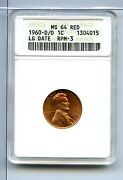 1960-d/d Lincoln Memorial Cent Anacs Ms64rd Large Date Rpm-3 Mc0103/bhx