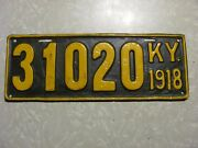 1918 Kentucky License Plate  Free Shipping