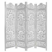 Kamal The Lotus Antique White 4 Panel Handcrafted Wood Room Divider Screen 72...