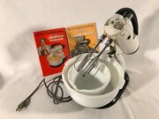 Vintage Sunbeam Mixmaster Stand Mixer Model 5b White Two Bowls And Beaters Works