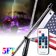 Xprite 2x 5ft Lighted Whips Antenna W/flag Wireless Control Dancing Rgb Polaris