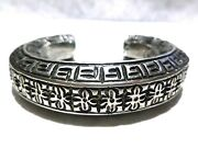 Antique Chinese Export Oriental Solid Silver Sterling 19th Century Cuff Bracelet