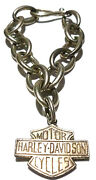 Vintage Authentic Harley Davidson Sterling Silver Cable Chain Charm Bracelet