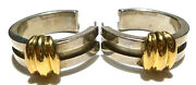 Rare Collectible 1995 And Co Sterling Silver 18k Gold 1 Hoop Earrings
