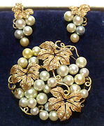 Antique Vintage Oriental 10k Yellow Gold Pearl And Seed Pearl Brooch Earrings Set