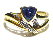 Vintage Collectible Levian 14k Yellow Gold Tanzanite And Diamond Ring Size 7.25