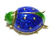 Rare Vintage Martine 14k Gold Blue And Green Enamel Insect Ladybug Brooch Pin