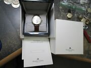 Maurice Lacroix 18k Gild And Stainless Running Wrist Watch With Band Box And Booklet