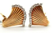 Retro Estate 18k Yellow Gold Earrings With Old Rose Cut Diamonds Omega Back