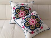 2 X Pink Floral Crewel Country Vintage Ethnic Cotton Pillow Cushion Covers 18