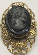 Cameo Broach Pin Victorian Lady Gold Filled 1 3/4 By 1 Inch Free Shipping