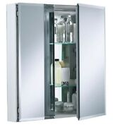 New Bathroom Mirrored Cabinet Double Door Drawer W/ Glass Shelves In Silver