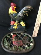 Large Cast Iron Chicken Rooster Trivet Hot Plate Pad And Shelf Setter Painted