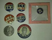 1950and039s I Like Ike And Dick Political Campaign Lapel Pin Pinback Lot Of 6 Vg+/fn