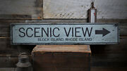 Scenic View Sign, Vintage Road Sign -distressed Wooden Sign