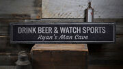 Beer And Sports Sign Drink Beer Sign -distressed Wooden Sign