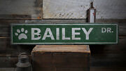 Pet Street Sign Paw Print Sign -distressed Wooden Sign