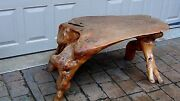 Antique Natural Maple Root Table, Free - Form With Planed Top And Gnarled Base