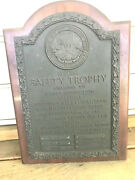 Old 1961-63 Collectible Bronze Safety Trophy Plaque Baltimore Gas And Electric Co