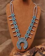 Navajo Sterling Petit Point Block Turquoise/coral Reversible Squash Blossom